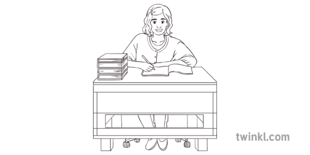 Female-Teacher-at-Desk-Black-and-White